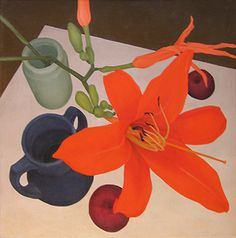 "Still life with day lily by Regine Granne; 1983; oil on linen; 17"" X 17"""
