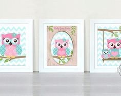 Owl Baby Nursery Art Print for any girls room or nursery. *** FRAMES ARE NOT INCLUDED , FOR DISPLAY ONLY. ***  This is a set of two 8 X 10 colorful personalized nursery decor for girls room. The print can be customized with your choice of colors, printed to perfection for any little girls room, or nursery. Everything can be personalized to your liking. You can pick any 2-3 colors ! The colors for this artwork are: Pink/ Aqua /Light Green Send me a message via ETSY conversations with any…