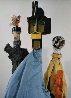 Group of hand puppets, made for Felix Klee by his father, Germany, 1916-25, by Paul Klee.