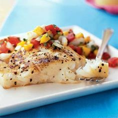Grilled Halibut and Fresh Mango Salsa. Tangy and fruity with eye-popping color, the mango salsa is fantastic with this halibut, but try it other types of fish too. Grilling Recipes, Fish Recipes, Seafood Recipes, Cooking Recipes, Healthy Recipes, Protein Recipes, Cooking Food, Food Prep, Quick Recipes