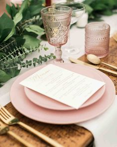 Each place setting had gold flatware, vintage-inspired rose-colored glasses, and two matte blush pink plates from IKEA (bought in a last-minute shopping trip with wedding Vintage Wedding Flowers, Pink And Gold Wedding, Blush Pink Weddings, Blush And Gold, Matte Blush, Green Wedding, Pink Table Settings, Ikea Wedding, Diy Wedding