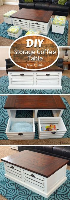 Check out how to build this easy DIY storage coffee table with stools from crates