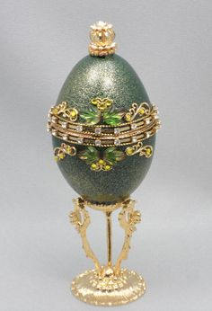 Green Wedding Ring Box Faberge Jeweled Egg Ornament Decorated Goose Egg