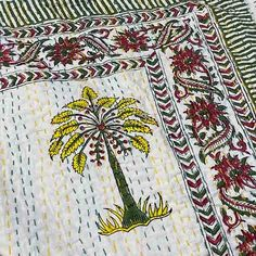 Kantha Quilt- Cotton Palm Tree Quilt - Citrus - Yummy Linen Kantha Quilt, Quilts, Help The Poor, Tree Quilt, Slow Fashion, Linen Bedding, Hand Stitching, Palm Trees, Earthy