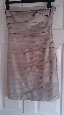 Dorothy Perkins Bandeau Silver Gold Ivory Scalloped Dress Size 12 RRP £55