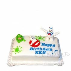 Tort cu fantome dulci Ghost Busters, Butter Dish, Happy Birthday, Dishes, Cake, Desserts, Food, Happy Brithday, Tailgate Desserts