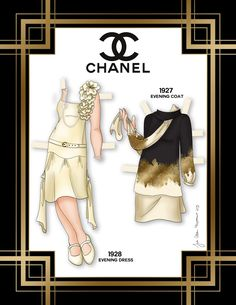Paper dolls by Julie Allen Matthews.  A Chanel inspired paper doll.