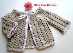 \ PINK ROSE CROCHET /: Casaquinhos para Bebê feitos com Ponto Leque em Crochê