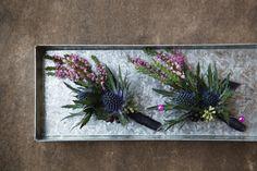 Eryngium, blackberries, seeded eucalyptus, heather  Planet Flowers