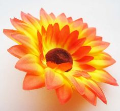 12 Orange Yellow Sun Flower Head  Artificial Silk by FayFlowerShop, $6.50