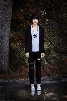 colourless colour by saturdayx on DeviantArt Alex Evans, Ripped Jeans, Skinny Jeans, Emo Scene, Dapper, Style Me, Bomber Jacket, Normcore, Guys