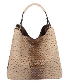 569e343dcd91 Handbag Republic Taupe Ostrich-Embossed Hobo   Pouch
