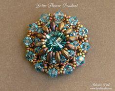 Pendant Tutorial  Super Duo Pendant  Lotus Flower by SidoniasBeads