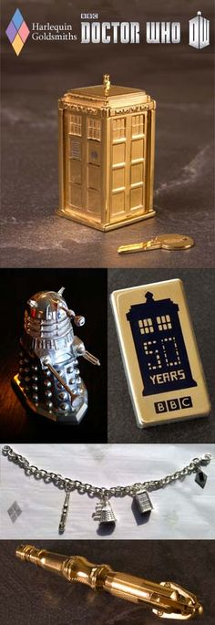 Official Doctor Who anniversary silver and gold statuaries and jewellery by Harlequin Goldsmiths. Doctor Who Merchandise, I Am The Doctor, November 23, Eleventh Doctor, Fandoms Unite, Torchwood, Matt Smith, Blue Box, Dr Who