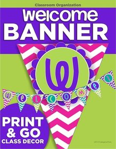 Welcome Banner from KindergartenWorks on TeachersNotebook.com -  (4 pages)  - Welcome students to your classroom with a bright chevron pennant banner.