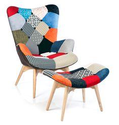 2x fauteuil design multicolore patchwork chalet scandinave ga pinterest fauteuil design. Black Bedroom Furniture Sets. Home Design Ideas