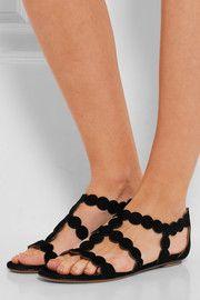 Laser-cut suede sandals