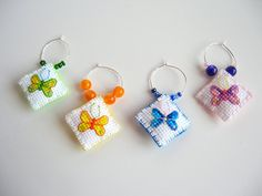 Cross-Stitched Wine Charms!