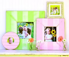 Soft pastel stripe wooden frames by Obrien and Schridde.want all of their frames! Diy Crafts For Gifts, Diy Craft Projects, Craft Ideas, Decorating Ideas, Fun Ideas, Project Ideas, Gallery Wall Frames, Gallery Walls, Handmade Frames