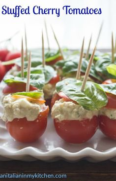 Tuna Mozzarella Stuffed Cherry Tomatoes - An Italian in my Kitchen Yummy Appetizers, Appetizer Recipes, Snack Recipes, Cooking Recipes, Healthy Recipes, Party Recipes, Wedding Appetizers, Italian Appetizers, Veggie Recipes