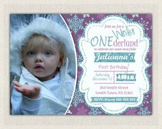 1st Birthday Invitation Purple Blue Winter by PixiePerfectParties
