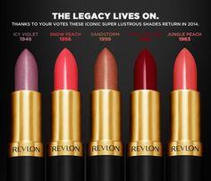 Revlon to bring back five vintage Super Lustrous Lipstick shades in Spring Kiss & Make-Up Retro Makeup, Vintage Makeup, Love Makeup, Vintage Beauty, Beauty Makeup, Hair Beauty, Makeup Stuff, Vintage Hair, Makeup Tips