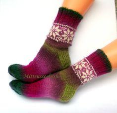 Hand knitted socks Green purple pink warm socks white latvian ornament Multicolor originally stylish elegant socks for a girl or woman (S-M)