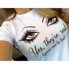 Younique Inspired 3d Fiber Lash Mascara Yes They're Real T-Shirt ($18) ❤ liked on Polyvore featuring tops, t-shirts, black, women's clothing, fitted tee, fitted black t shirt, cotton tee, black t shirt and long fitted t shirts
