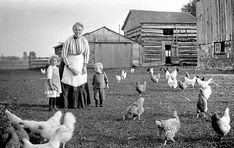 Woman and two young children standing in a farm yard, with chickens, Ontario, Canada, ca. 1900 Rowley Murphy collection Archives of Ontario Vintage Photographs, Vintage Photos, Antique Photos, Old Pictures, Old Photos, Ontario, Orphan Train, Farm Women, Poetry Contests