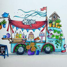 Free Coloring, Coloring Books, Coloring Pages, Adult Coloring, Joanna Basford, Retro Campers, Mandalay, Watercolor, Bradford