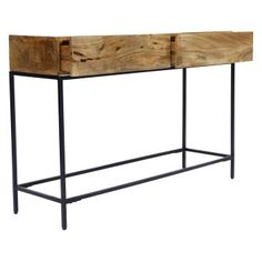 Upgrade your interior design with the The Urban Port Modish Console Table with Drawers . This table is rendered from square-tubed metal with all-around. Wooden Console Table, Wooden Tops, Storage Drawers, Wood And Metal, Minimalist, Cabinet, Interior Design