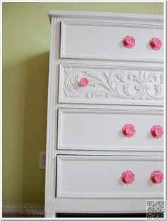 19. Add #Molding and Colorful #Knobs - 41 Chest of #Drawer Makeovers: Wait Til…