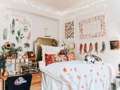dorm room decor, decorations, college, white bedding, bed comforter, boho, bohemian, Tumblr, vsco, red orange white green color scheme, sunflower, succulent cactus print, wall decor, hair scarf, throw pillows, embroidery, tassel, makeup storage, desk, polaroid, butterfly, floral flower tapestry, letter board, headboard