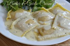 Made this sauce to top crab ravioli. Delicious, will make again. Butter garlic cream sauce.