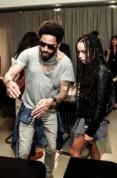 Lenny and Zoe (his daughter) Kravitz