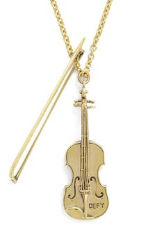 Necklace World's Tiniest Violin Necklace. Whether you love the orchestra or are just done being sympathetic, this tiny violin necklace from Monserat De Lucca is right on key! Music Jewelry, Cute Jewelry, Gold Jewelry, Jewelery, Jewelry Accessories, Jewelry Necklaces, Jewelry Design, Vintage Necklaces, Tiny Violin