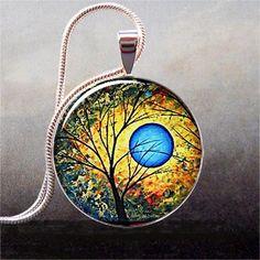 Blue Sun art pendant charm, resin pendant, tree necklace pendant, tree jewelry, resin jewelry