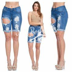 Boutique Shorts 1X 2X Medium Wash Cuffed Distressed Denim Plus Bermuda Shorts #Boutique #BermudaWalking