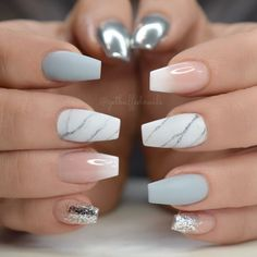 Elegant and Cute Acrylic Nail Designs, unique ideas for you to try in special day or event. Cute Acrylic Nail Designs, Cute Acrylic Nails, Nail Art Designs, Hot Nails, Hair And Nails, Gorgeous Nails, Pretty Nails, August Nails, Stylish Nails