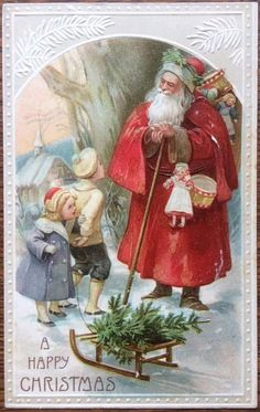 Vintage Christmas Postcard - Victorian Father Christmas looks at children Vintage Christmas Images, Christmas Scenes, Christmas Past, Victorian Christmas, Father Christmas, Vintage Holiday, Christmas Greetings, Christmas Postcards, Vintage Images