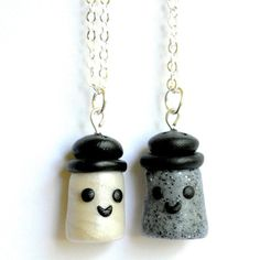Items similar to Best Friend Salt and Pepper Necklaces, BFF Gift, Polymer Clay, Tween Jewelry on Etsy Bff Necklaces, Best Friend Necklaces, Best Friend Jewelry, Friendship Necklaces, Cute Necklace, Bracelets, Biscuit, Cute Charms, Clay Creations