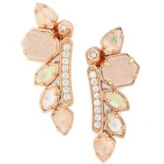 Women's Kendra Scott 'Madison' Crystal Ear Crawlers (€100) ❤ liked on Polyvore featuring jewelry, earrings, rose gold champagne mix, crystal jewelry, sparkly earrings, sparkle jewelry, druzy jewelry and iridescent crystal earrings