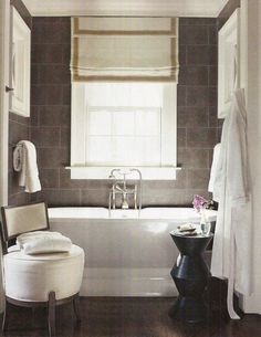 Simplicity Small black and white bathroom with gray slate tile and free standing tub. Grey Slate Tile, Grey Wall Tiles, Grey Walls, Gray Rooms, Grey Brick, Grey Bathrooms, Beautiful Bathrooms, White Bathroom, Small Bathroom
