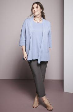 Eileen Fisher Cardigan, Shell & Pants (Plus Size)