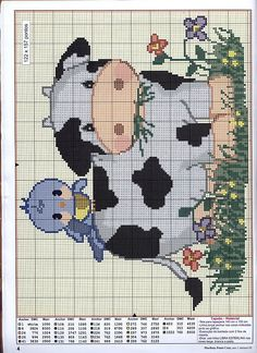 Just Cross Stitch Patterns | Cute cow and bird.