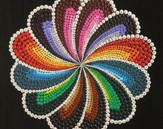 Handmade acrylic painting on canvas, using dot art technique. Mandala Art, Mandala Canvas, Mandala Rocks, Mandala Painting, Mandala Pattern, Dot Art Painting, Painting Patterns, Acrylic Painting Canvas, Stone Painting