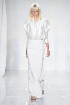 Architectural silk cotton jacket with back pleat / Stretch crepe gown #GabrielaCadena #SS16