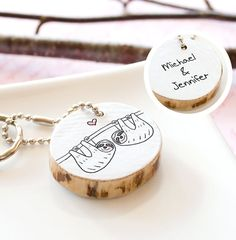 Koala Wooden Keychain Adorable Gift Couple Best by HappyCatPrints
