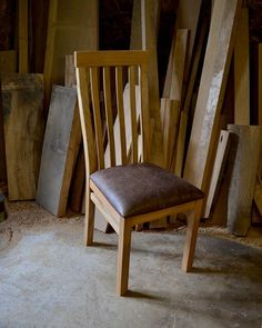 Our bespoke dining chair with leather seat - an elegant and classic design. Handmade to order. Sustainable oak with steam bent back rails. Choice of leather High Back Dining Chairs, Dining Bench, Chair Bench, Bespoke Furniture, Garden Furniture, Chair Design, Benches, Workshop, Leather