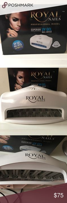 Royal Nails Professional UV Gel Royal Nails Professional UV Gel nails 54 Watts Professional Model Double size you can place 2 hands/feet simultaneously  Fam for faster drying.  A timer also. Used once Can be used with any IV gel products or acrylic nails Other
